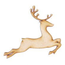 Leaping Reindeer - 3mm MDF Laser Cut Christmas Topper Pyrography